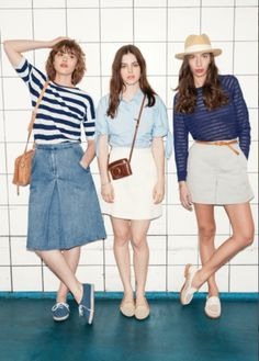 & other stories denim midi skirt, baby blue shirt and striped sweater