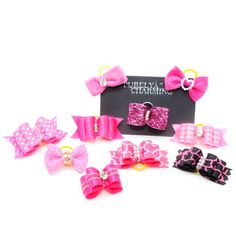 PURELY CHARMING Pet Barrette / Hair bows for Dogs - Knockout Pink (Pack of 10) - http://www.thepuppy.org/purely-charming-pet-barrette-hair-bows-for-dogs-knockout-pink-pack-of-10/