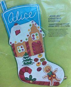 Bucilla Felt Applique Christmas Stocking Kit Jumbo Gingerbread House Jewel 2098 | eBay