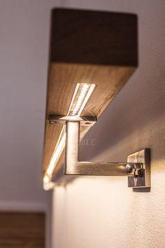 Dębowa poręcz o profilu prostokątnym z podświetleniem LED-owym