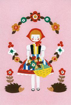 : little red riding hood :. Folklore, Love Illustration, Naive Art, Inspiration For Kids, Love Images, Red Riding Hood, Conte, Christmas Art, Little Red