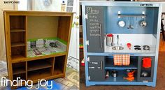 TV stand turned into play kitchen