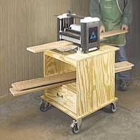 Planer Stand features an open shelf and a drawer. This woodworking plan appeared in ShopNotes magazine No. 78.