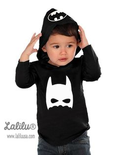 Batman Shirt Long Sleeve Tee Shirt Childrens by LaliluStudio