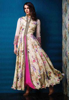 Cream Raw Silk Designer Gown 67249