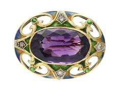 BROOCH, 14K gold, oval faceted amethyst approx 12,00 ct, four old cut diamonds approx 0,12 ctw, four tsavorites, green, blue and orange enamel.
