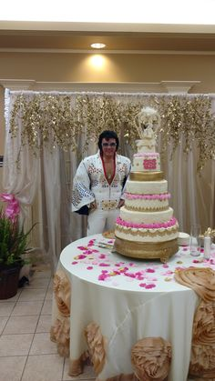 wedding reception, gold and pink, large rosette cake tablecloth, elvis