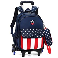 7871c8ce6b Cuisinify School Bag with Wheel 2 in 1 Detachable School Backpack Waterproof  Oxford Cloth Satchel Solid Schoolbag for Kids Boys Girls for years old  (dark ...