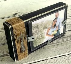 Rustic Wood Picture Frame Wood Block Photo Display by 0namesleft