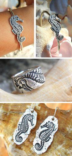 Seahorse Jewelry, Nautical Jewelry by www. Summer Jewelry, Beach Jewelry, Boho Jewelry, Jewelry Art, Wedding Jewelry, Handmade Jewelry, Jewlery, Metal Jewelry, Crystal Jewelry