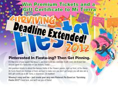 Check out our Surviving Fiesta Pinterest contest! Ends today--- but there's still time to enter!! Winner gets two premium tickets to the Battle of the Flowers Parade and a gift certificate to Mi Tierra in San Antonio!  http://www.facebook.com/esdandassociates/app_410718855624733