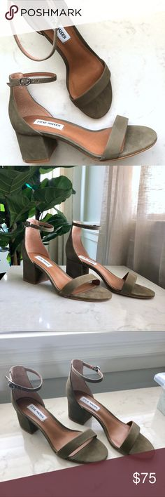 NWOT Steve Madden Olive Sandal Size 8 NWOT Steve Madden Irenee Olive Sandal Size 8  TTS - The perfect spring/summer neutral. The skinny ankle strap lengthens your legs while the block heel adds support and sophistication to a casual look.   Comfortable suede that doesn't dig in.  Never Worn. 100% New.   Note: Because I store my shoes in clear organizers, the original box is NOT included.  ⭐️Have questions? Want me to try them on? Comment below!  Steve Madden Shoes Sandals