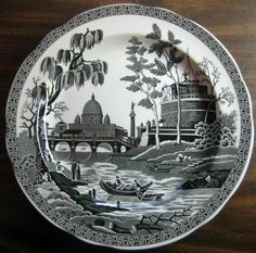 Decorative Dishes - (http://www.decorativedishes.net/black-white-toile-exotic-palm-river-temple-plate/)