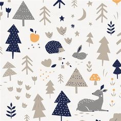 Taupe and Windsor Navy Baby Woodland Fabric by the Yard | Navy Fabric | Carousel Designs