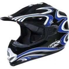 #Casco Motocros Helix Cannon BBLW, Negro Azul Blanco.