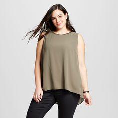 Women's Plus Size Perfect Layering Shell Olive (Green) 1X - Ava & Viv