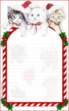 Papier à lettre imprimable Noël Free Printable Stationery, Printable Scrapbook Paper, Printable Paper, Christmas Letterhead, Christmas Stationery, Christmas Paper, Christmas Cats, Xmas, Illustration Noel