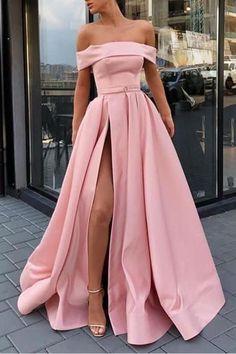 Rosa Satin Off-the-Shoulder A-Line Langes Abendkleid mit Schlitz - Off-the-Shoulder Pink Satin A-Linie High Split Langes Ballkleid mit Taschen. Prom Dresses With Pockets, Pretty Prom Dresses, Elegant Prom Dresses, Pink Prom Dresses, Homecoming Dresses, Evening Dresses, Long Dresses, Dress Long, Sexy Dresses