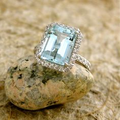 Handmade Pastel Blue & Green Emerald Cut Aquamarine Engagement Ring in 18K White Gold with Diamonds Size 6.5 on Etsy, $3,450.00