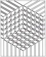 Display image coloring-illusion-optic-cubes