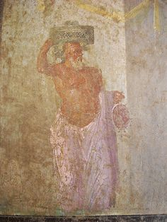 """Silenus with basket and drum"" - from Pompeii - Naples Archaeological Museum 