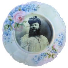 Madame Delait, The Bearded Lady of Plombieres - Altered Antique Plate 8""