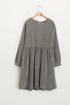 Corduroy Cutie Dress Charcoal 100% Cotton.