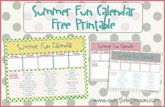 Summer Fun Calendar...laminate and put on fridge and plan something fun for the summer..