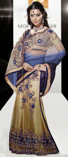 USD 104.48 Light Blue Faux Georgette Wedding Lehenga Saree 42458