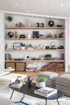40 Amazing Living Room Ideas Decor # Wohnzimmer Home Decoraiton Wohnaccessoires Living Room Shelves, Living Room Furniture, Living Room Decor, Wall Shelves, Open Shelves, Living Rooms, Glass Shelves, Apartment Living, Bedroom Shelves