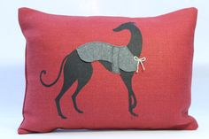 Hand printed pillow decorative greyhound by PigeonPostDesigns, £34.00