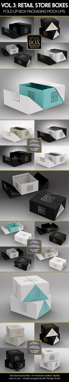 Retail Boxes Vol.3: Fold Up Box Packaging Mock Ups by ina717 Volume 3:RETAIL MOCK UP PACKAGING BOXES Fold Up Box packaging mock upsThree ( 3 ) different psd Scenes (See Preview samples) High