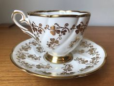 Vintage Royal Stafford Tea Cup and Saucer, Gold Shamrock Teacup and Saucer, Bone China Coffee Cups, Tea Cups, Cuban Coffee, Bone China Dinnerware, Royal Stafford, Swirls, Cup And Saucer, Tea Time, Tea Party