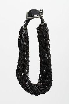 RAW 8, 2014, necklace, leather, steel, 12 x 2 x 9 inches, photo: Kelsey Von Wormer - Matt Lambert -  Cranbrook Academy of Art