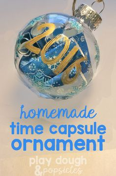 Time Capsule Ornament made by kids. Help remember the small details and hang them on your tree.