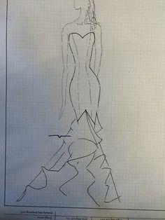 3 Min. fashion sketch of my sister's wedding gown!