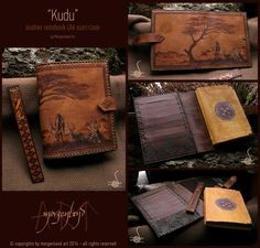 Kudu   Leather notebook case with wooden bookmark and handmade notebook.