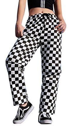 e169a738595a YUNY Womens Casual High Waist Wide Leg Trousers Checkerboard Palazzo Pants