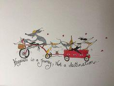 Nellie Doodles A4 print geluk is een reis door NellieDoodles