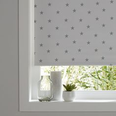 Boreas Corded Grey & ivory Stars Blackout Roller Blind This blind has a blackout coating which is designed to stop all light entering your room; perfect for nurseries and for night shift workers. Blackout roller blind by Colours Blinds And Curtains Living Room, House Blinds, Fabric Blinds, Blinds For Windows, Shutter Blinds, Nursery Blinds, Bathroom Blinds, Nursery Room, Blackout Shades