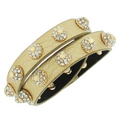 Leather Yellow Gold-Tone White Crystals CZ Double Row Wristband Adjustable Womens Bracelet Daily Diamond Deal. $11.99. Length: Adjustable (7.00in - 9.00in). Width: Approx. 1.00in. Gender: Female. Material: Leather, Alloy. Save 20% Off!