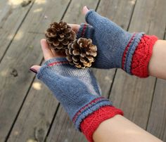 Fingerless Gloves  Grey Red Mittens  Boho Gloves  by ussuriknits