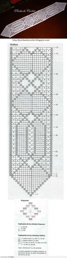 Crochet per Stylowi. Crochet Table Runner, Crochet Tablecloth, Crochet Doilies, Crochet Lace, Thread Crochet, Love Crochet, Crochet Stitches, Fillet Crochet, Christmas Crochet Patterns