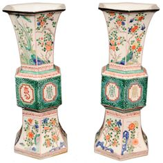 Chinese Porcelain Hexagonal Shaped Vases, Qing Dynasty  #1stdibs #Antiques