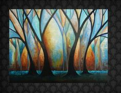 Huge Abstract Tree Painting Long Black Dresses 30x40 by davis818 Nice simple lines.  Love the color combo.