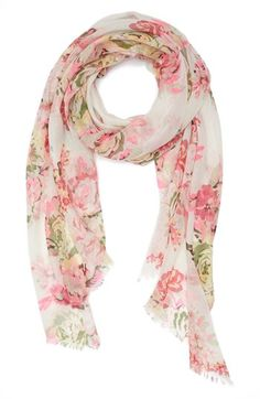 Lulu Floral Scarf (Juniors) available at Floral Fashion, Modest Fashion, Fashion Design, African Scarf, Moda Floral, Spring Scarves, Teen Girl Outfits, Junior, Floral Scarf