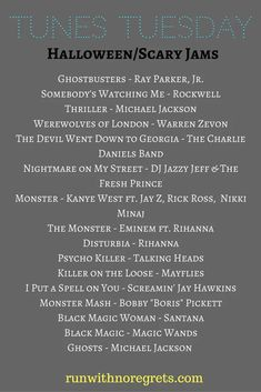 For this month's Tunes Tuesday, we're sharing a few of our favorite scary songs for Halloween! You can find more Tunes Tuesday posts at runwithnoregrets.com! Halloween Run, Halloween Playlist, Halloween Songs, Halloween Food For Party, Halloween Themes, Music Activities For Kids, Somebody's Watching Me, Homemade Musical Instruments, Scary Kids