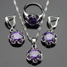 Flower Purple Cubic Zirconia Silver Jewelry Set