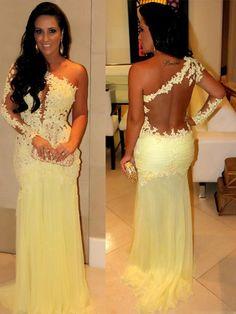 Sheath/Column One-Shoulder Applique Long Sleeves Floor-Length Chiffon Prom Dresses