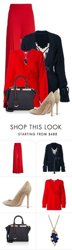 """""""Fall Outfit 3"""" by larycao ❤ liked on Polyvore featuring Sara Battaglia, Sacai, Gianvito Rossi, Delpozo, Fendi and Lord & Taylor"""